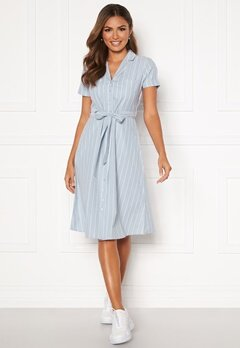 Happy Holly Sandra ss shirt dress Blue / White Bubbleroom.no
