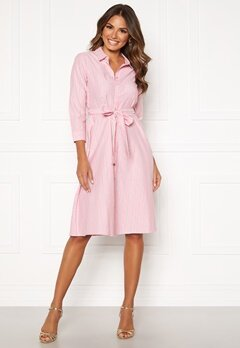 Happy Holly Sanna shirt dress Pink / Striped Bubbleroom.no
