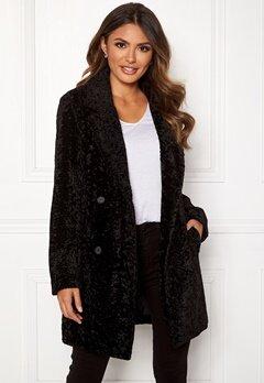 Happy Holly Sienna fur coat Black Bubbleroom.no