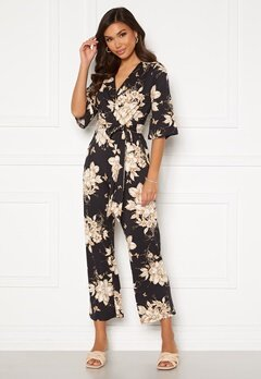 Happy Holly Simone kimono sleeve  jumpsuit Black / Patterned Bubbleroom.no