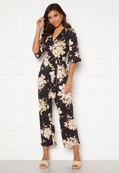 Happy Holly Simone kimono sleeve  jumpsuit Black / Patterned Bubbleroom.no