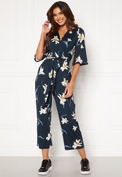 Happy Holly Simone kimono sleeve  jumpsuit Dark blue / Patterned Bubbleroom.no