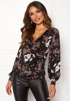 Happy Holly Simone wrap top Black / Patterned Bubbleroom.no