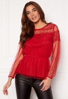 Happy Holly Smilla ls mesh blouse Red Bubbleroom.no