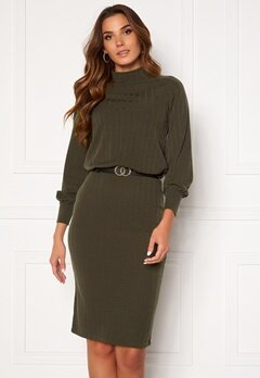 Happy Holly Stella Turtleneck dress Khaki green Bubbleroom.no