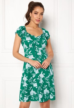 Happy Holly Tessan dress Green / Offwhite Bubbleroom.no