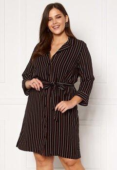 Happy Holly Thea shirt dress Black / Striped Bubbleroom.no