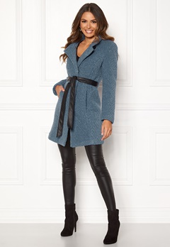 Happy Holly Tuva wool coat Dusty blue Bubbleroom.no