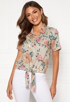 Happy Holly Vilma knot shirt Beige / Floral Bubbleroom.no