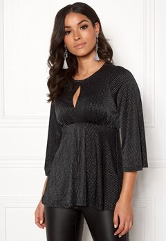 Happy Holly Zahra lurex top Black / Silver Bubbleroom.no