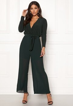 Happy Holly Bianca pleated jumpsuit Dark green Bubbleroom.no