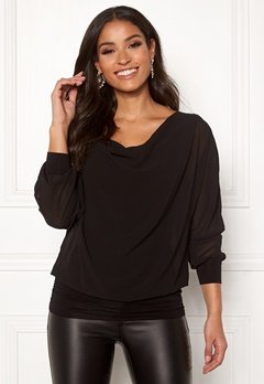 Happy Holly Lisa drapy blouse Black Bubbleroom.no