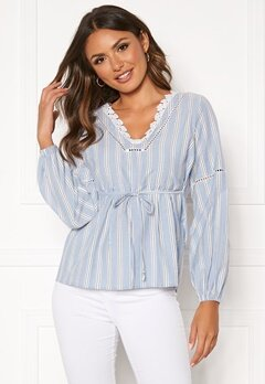 Happy Holly Sanna blouse Blue / Striped Bubbleroom.no