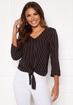 Happy Holly Thea knot blouse Black / Striped Bubbleroom.no