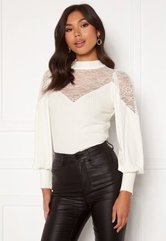 Happy Holly Nathalie lace puff top White Bubbleroom.no
