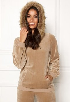 Happy Holly Kaylee short fur hoody Light mole Bubbleroom.no
