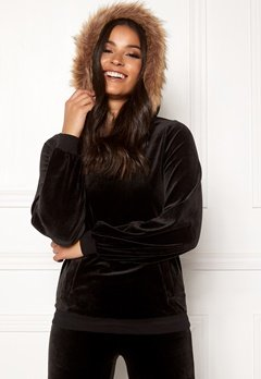 Happy Holly Kaylee short fur hoody Black Bubbleroom.no