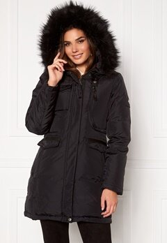 Hollies Livigno Long Coat Black/Black Bubbleroom.no