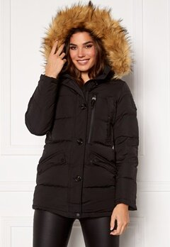 Hollies Wilma Long Jacket Black/Natural Bubbleroom.no
