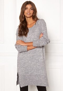 ICHI Amara Long LS Dress Grey Melange Bubbleroom.no