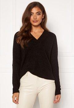 ICHI Amara V LS Sweater Black Bubbleroom.no