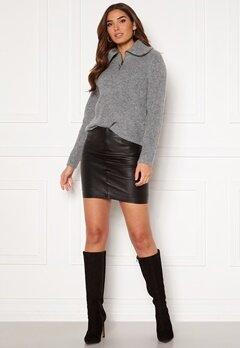 ICHI Darina Leather Skirt Black Bubbleroom.no