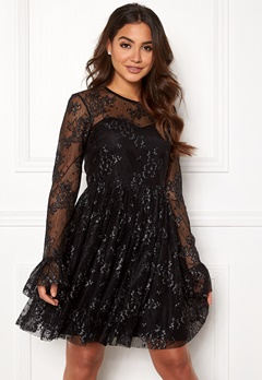 Ida Sjöstedt Tilly Dress Soft Lace Black/Silver Bubbleroom.no