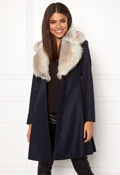 Ida Sjöstedt Tracey Coat Wool Navy/Light Fur Bubbleroom.no
