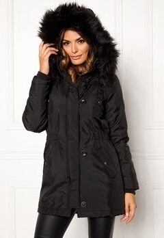 ONLY Iris Fur Winter Parka Black/Black fur Bubbleroom.no