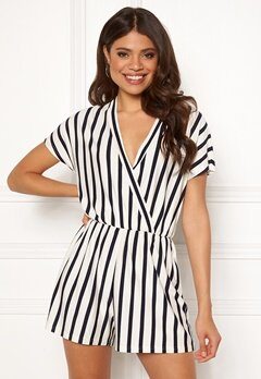 Jacqueline de Yong Alina S/S Playsuit Cloud Dancer/Stripes Bubbleroom.no