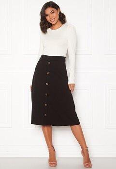 Jacqueline de Yong Bellis Button Skirt Black/Dark wood butt Bubbleroom.no