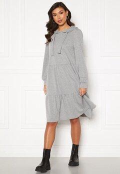 Jacqueline de Yong Dale L/S Hood Sweat Dress Light Grey Melange Bubbleroom.no