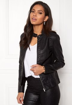 Jacqueline de Yong Dallas Faux Leather Jacket Black Bubbleroom.no