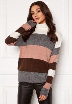 Jacqueline de Yong Elanora L/S Stripe Rollneck Knit Woodrose/ Stripes Bubbleroom.no