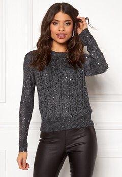 Jacqueline de Yong Ellie L/S Lurex O-Neck Pullover Dark Grey Melerad Bubbleroom.no