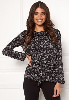 Jacqueline de Yong Hilda L/S Belt Blouse WVN Black/Small Flower Bubbleroom.no