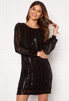 Jacqueline de Yong Justin L/S Sequins Dress Black Black Sequins Bubbleroom.no
