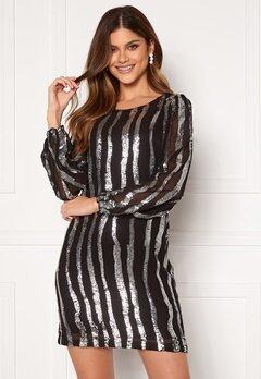 Jacqueline de Yong Justin L/S Sequins Dress Black Silver Sequins Bubbleroom.no