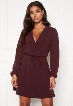 Jacqueline de Yong Lauren L/S Belt Dress Vineyard Wine Bubbleroom.no