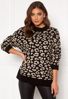 Jacqueline de Yong Leo L/S Pullover Black/Leopard Bubbleroom.no