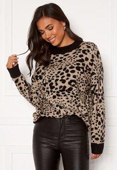 Jacqueline de Yong Lian L/S Pullover Knit Beige Leopard Bubbleroom.no