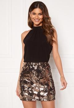 Jacqueline de Yong Lola S/L Highneck Dress Black Champagne Sequ Bubbleroom.no