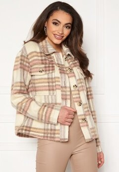 Jacqueline de Yong Loles Check Shirt Jacket Woodrose Bubbleroom.no