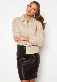 Jacqueline de Yong London L/S Faux Leather Shirt Chateau Gray Bubbleroom.no