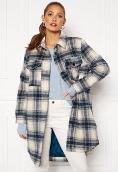 Jacqueline de Yong Long Check Shirt Jacket Majolica Blue Bubbleroom.no
