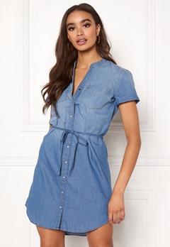 Jacqueline de Yong Shinest S/S Belt Dress Medium Blue Denim Bubbleroom.no