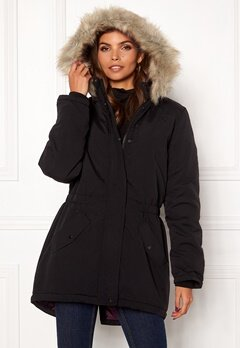 Jacqueline de Yong Star New Fall Parka Black Bubbleroom.no