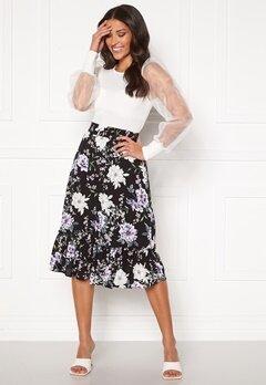 Jacqueline de Yong Starr Life Frill Skirt Black AOP: Rose Bubbleroom.no