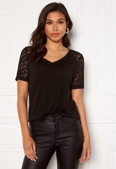 Jacqueline de Yong Stinne S/S Lace Top Black Bubbleroom.no