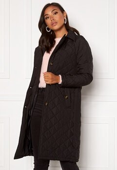 Jacqueline de Yong Tora Long Quilt Trenchcoat Black Bubbleroom.no
